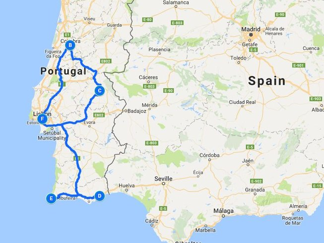 Days Amazing South Portugal Motorcycle Tour - Portugal map south
